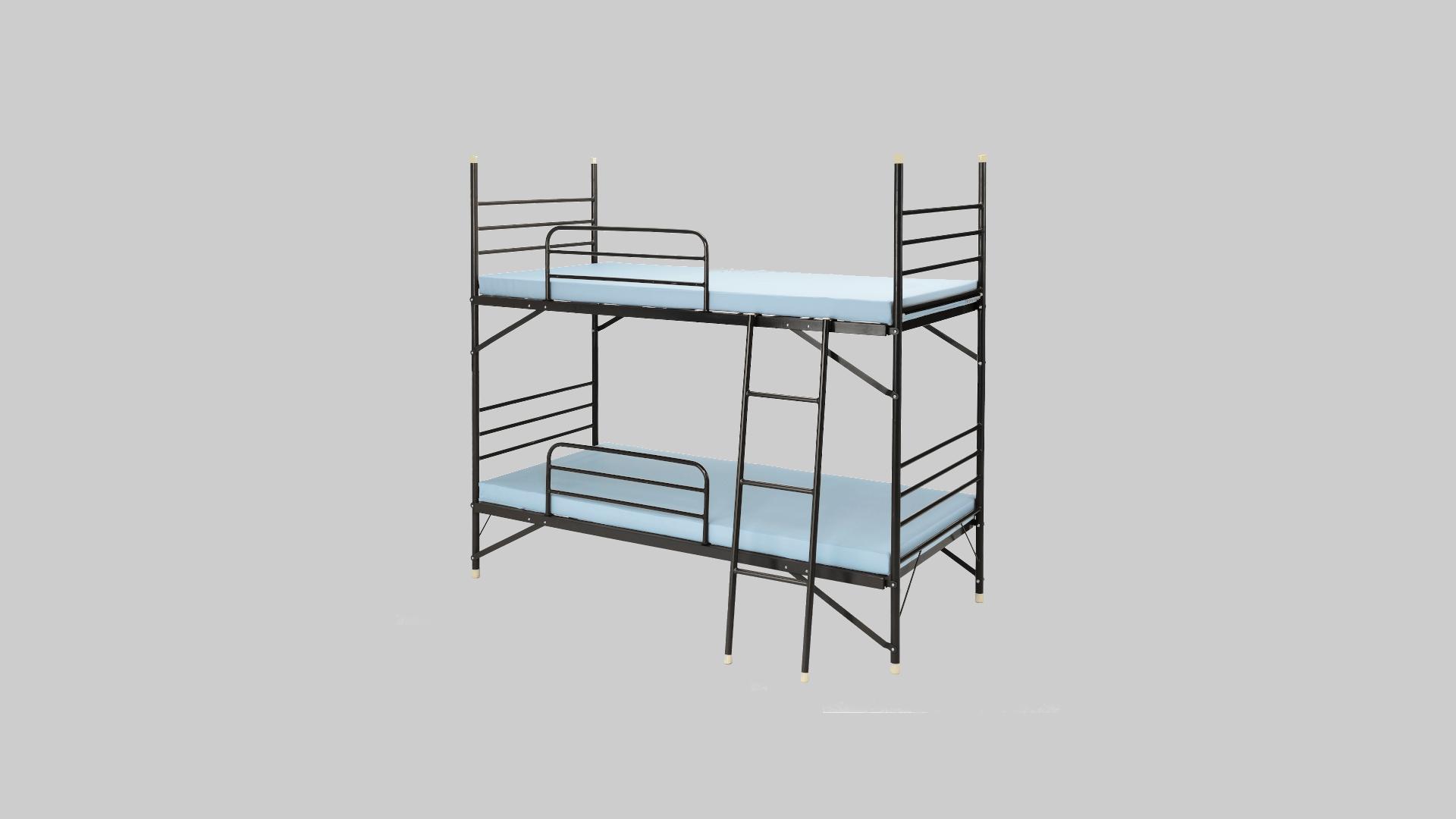 スチール2段ベット④サイドレール・梯子付 イメージ