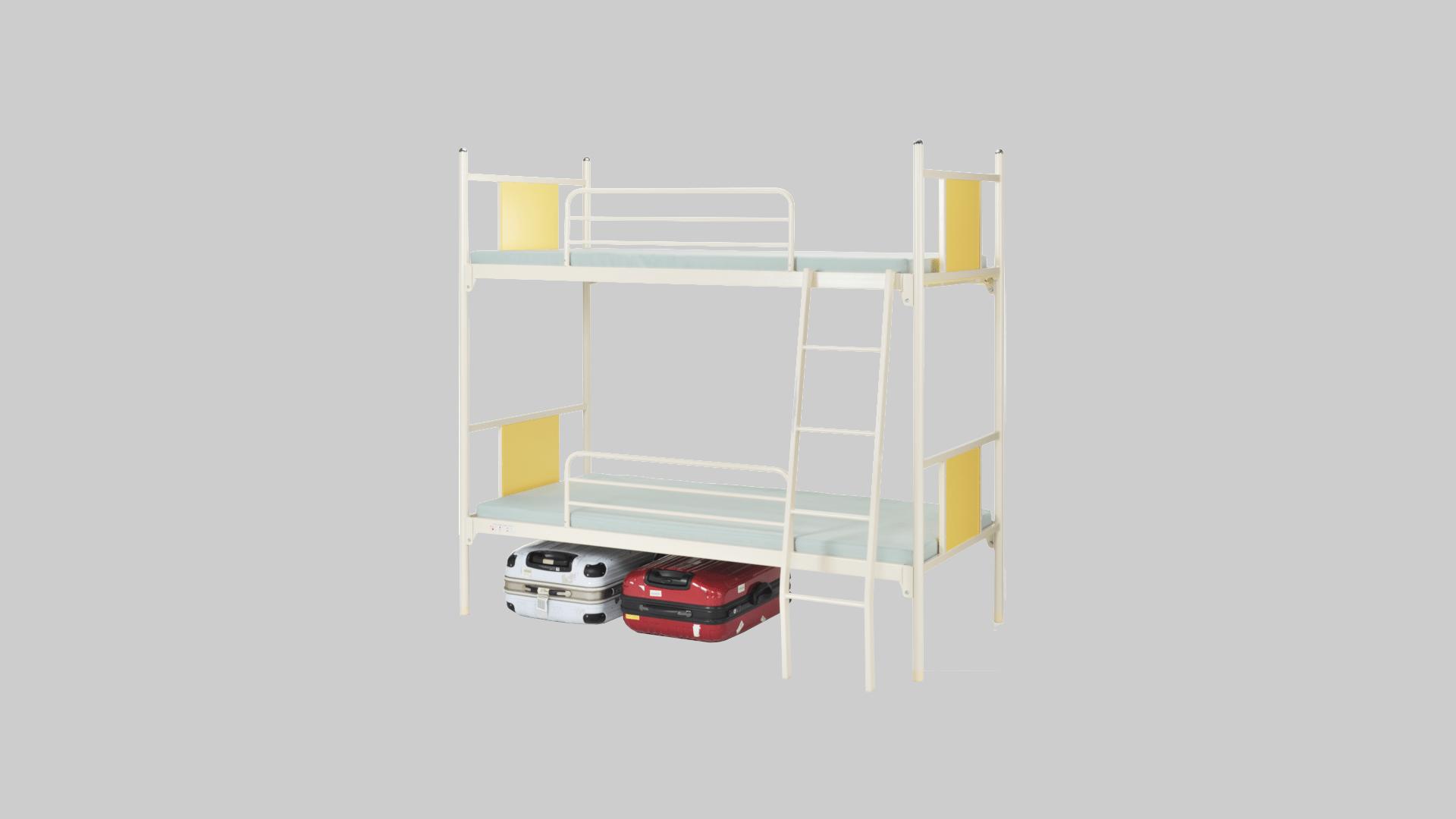 スチール2段ベット⑦サイドレール・梯子付 イメージ